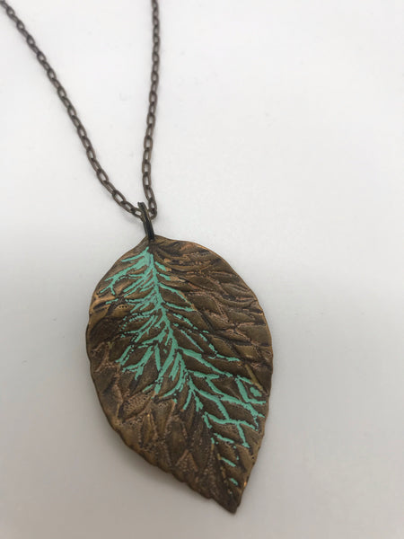 Bronze Turquoise leaf necklace