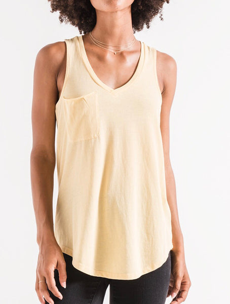 Yellow Cream Pocket Racer Tank