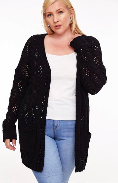 Black Chunky Knit Cardigan-Plus