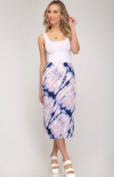 Tied Dyed Midi Skirt