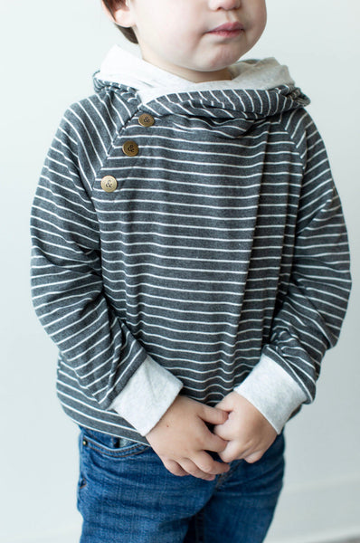 Kids Charcoal Stripe Double Hoodie