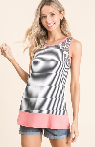 Leopard and Stripe Contrast Tank