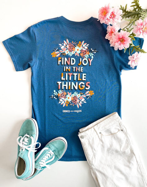 Find Joy In the Little Things (Slate) - Short Sleeve/Crew