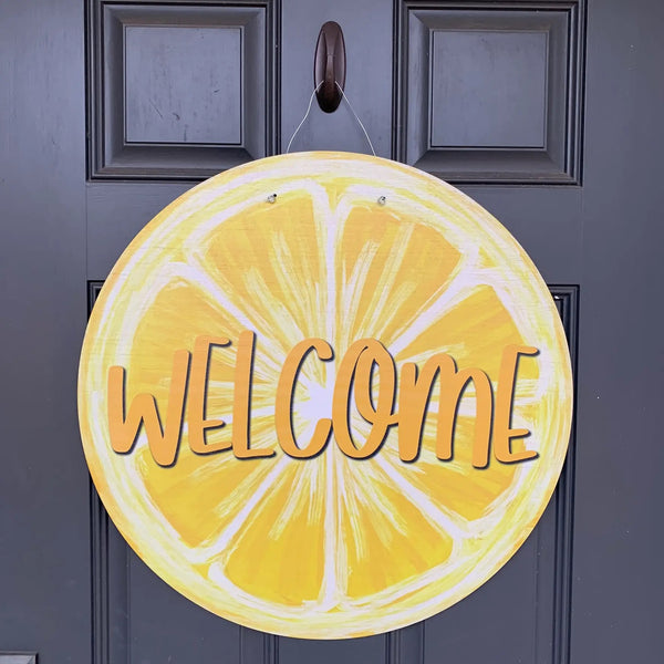 Welcome Lemon Door Hanger 23""