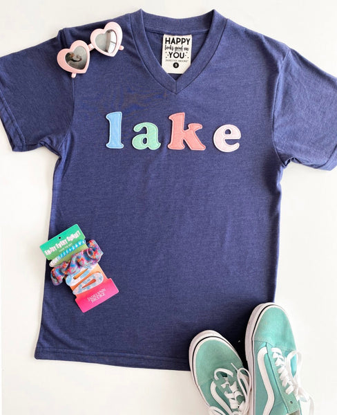 Lake Patches V Neck Tee
