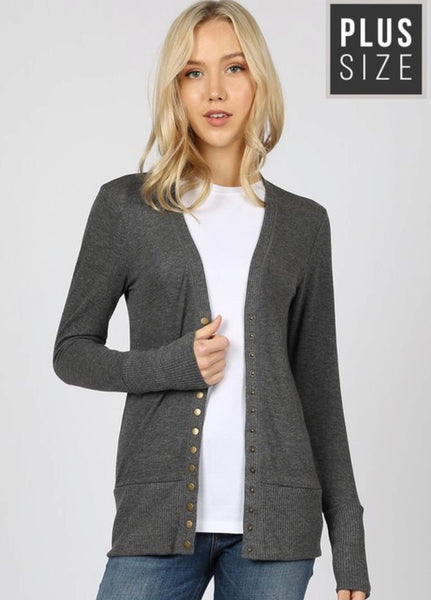 Charcoal Snap Cardigan Plus