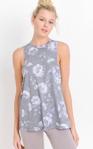Shadowbox Floral Flowy Muscle Tank