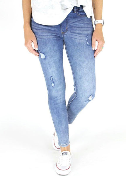 Classic Distressed Mid Rise Pull On Jeggings
