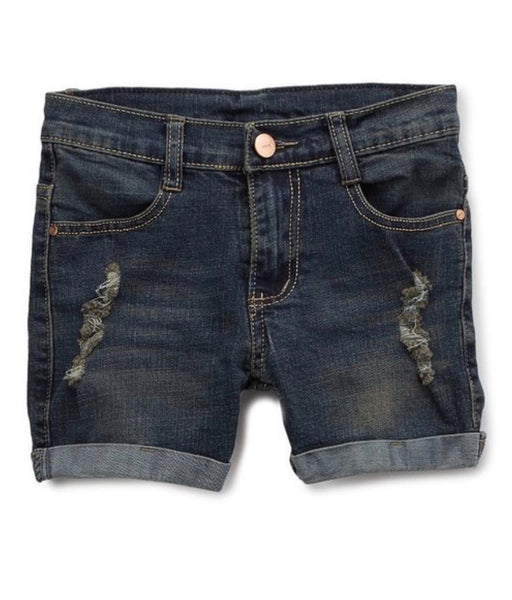 Dark Blue Distressed Shorts