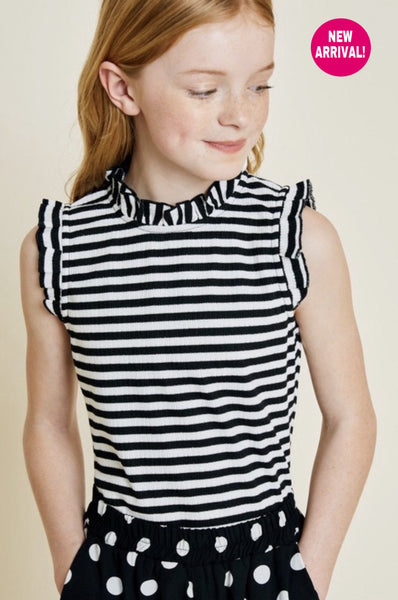 Kids Stripe Ruffle Mock Neck Top