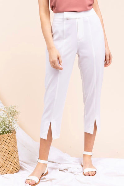 White Cropped Dress Pant