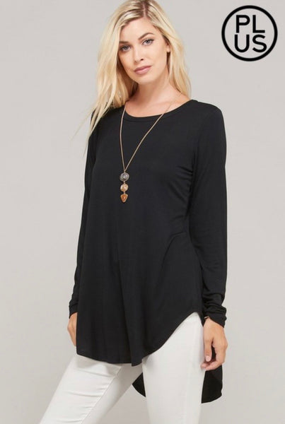 Black High Low Solid Top