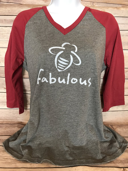 Bee Fabulous Baseball Tee size small