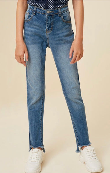 Kids Stone Wash Frey Ankle Jean