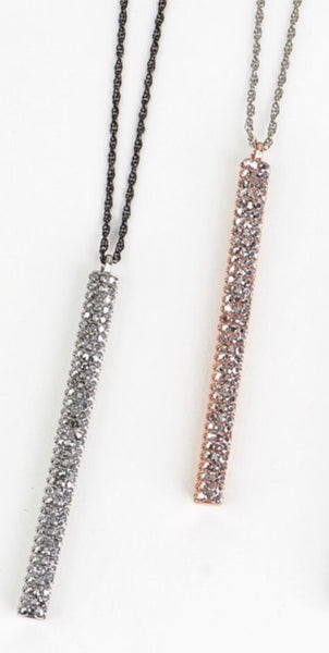 Pave Bar Necklace & Earring Set