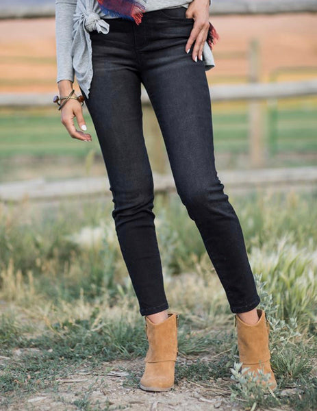 Classic Mid Rise Pull On Jeggings Black