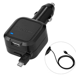 Car Charger, Mosche Retractable Micro USB Cable Car Charger Charges Quickly in the Car with 5.6A USB for Samsung Galaxy S6/ S6 Edge (Black)
