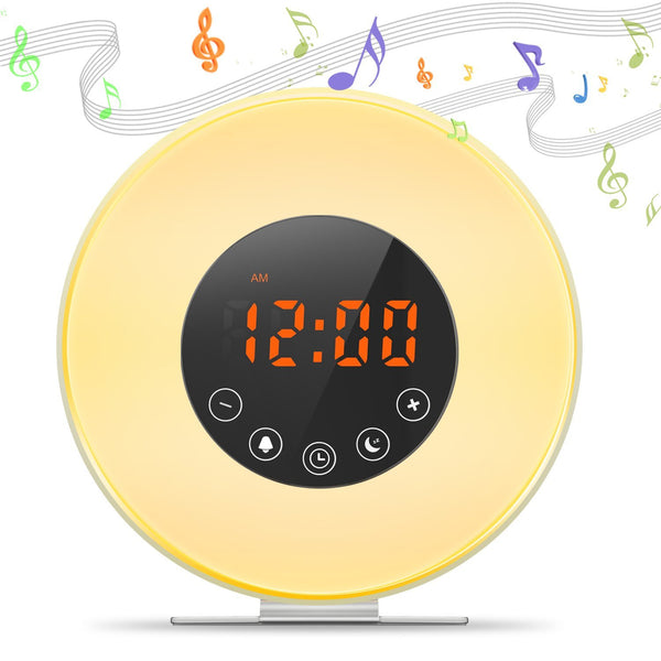 MOSCHE Sunrise Simulator Alarm Clock, Wake Up Light With 6 Nature Sounds, FM Radio, Touch Control, Sunset Simulation and Aviation Aluminum Stent (White)