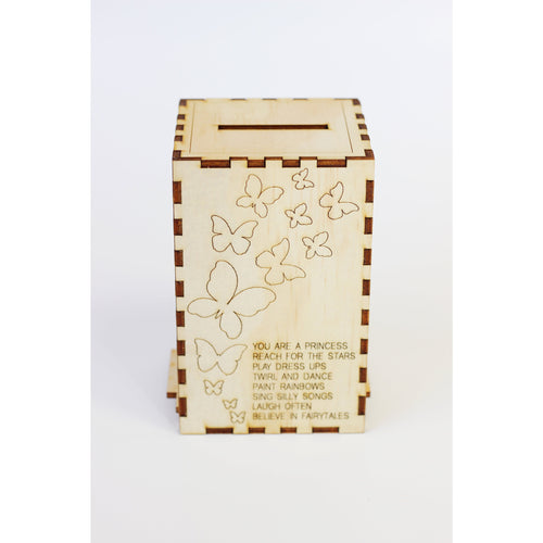 Wooden Money box 'Butterfly Dance'