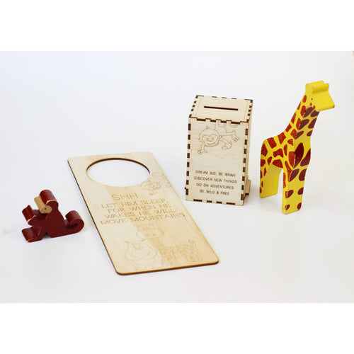 'Escape into the wild' wooden baby boy gift set