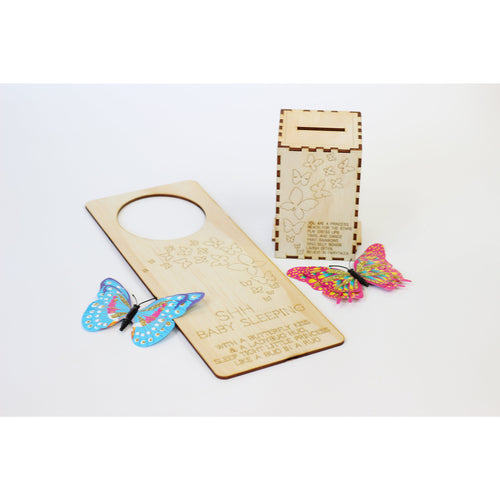 'Butterfly love' wooden baby gift set