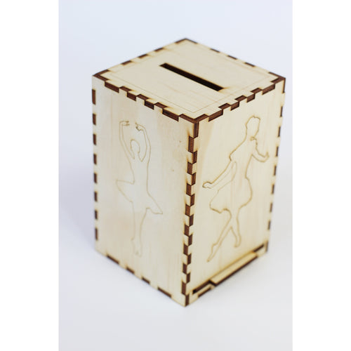 Wooden Money box 'I was born to dance'
