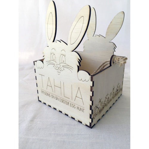 Personalised I'm going on an Easter Egg Hunt' Wooden Basket