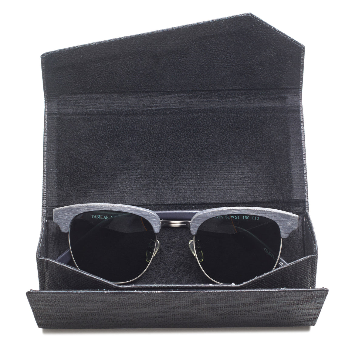 black folding sunglasses case open