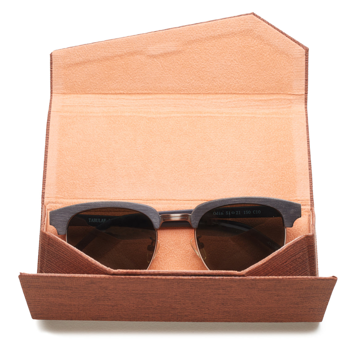 brown folding sunglasses case front