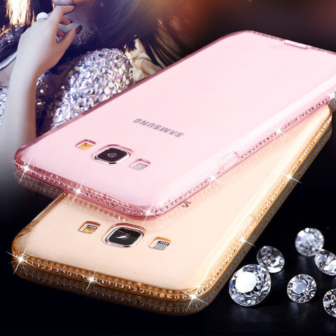 Diamond Soft Cover Clear Crystal ultra slim back cover for iPhone and Samsung