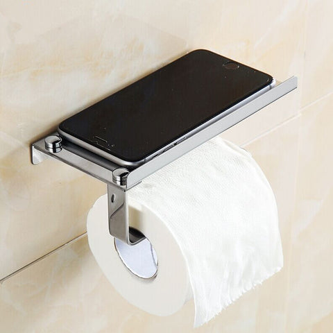 Stainless Steel Roll Towel Tissue Paper Holder Mobile Phone Shelf