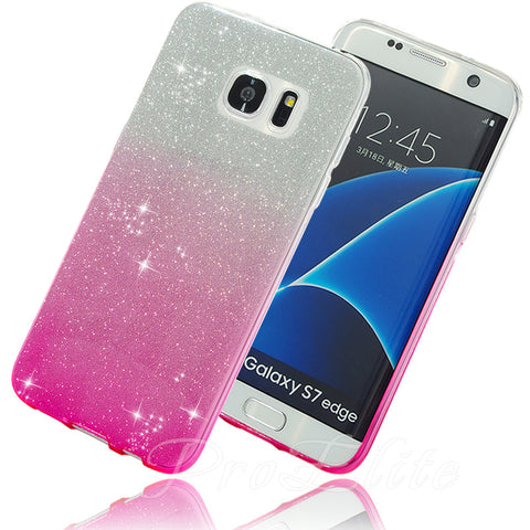 Glitter Bling Shinning Soft Gradient Color Back Silicone Case for Samsung