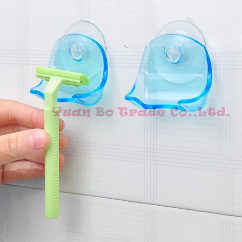 Clear Blue Plastic Super Suction Cup Razor Rack