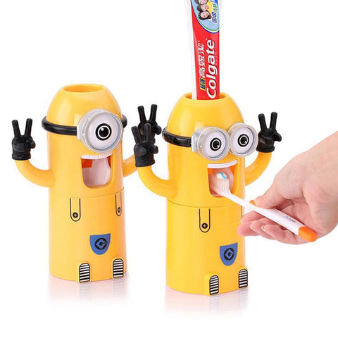 Cute Design Set Cartoon yellow  Minions Toothbrush Holder Automatic Toothpaste Dispenser