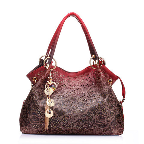 Women Hollow Out Ombre Handbag