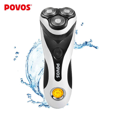 POVOS Men Washable Rechargeable Rotary Electric Shaver Razor with 3D Floating Structure