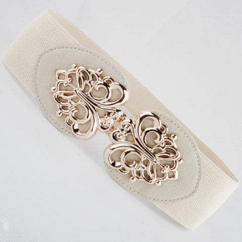 New Popular Fashion cummerbund Leather cutout gold buckle elastic waist belt strape