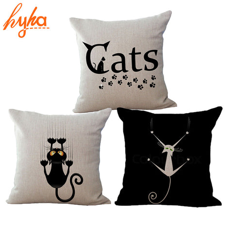 CAT Cushion Funny Black Cotton Linen Throw Pillow