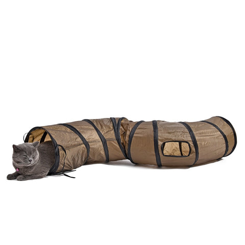 Funny Cat Play Tunnel  Brown Foldable 1 Hole Cat Tunnel