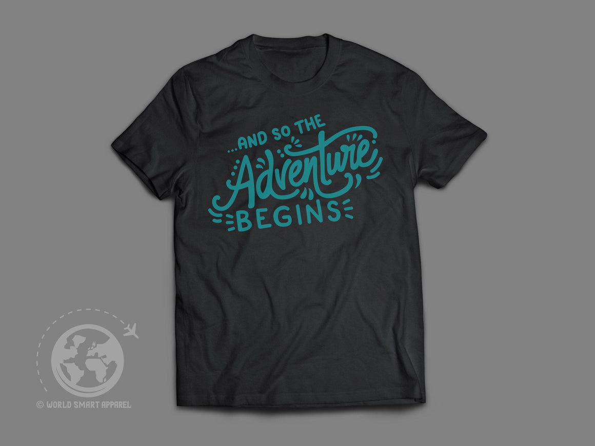 World Smart The Adventure Begins Travel T-Shirt-World Smart Apparel