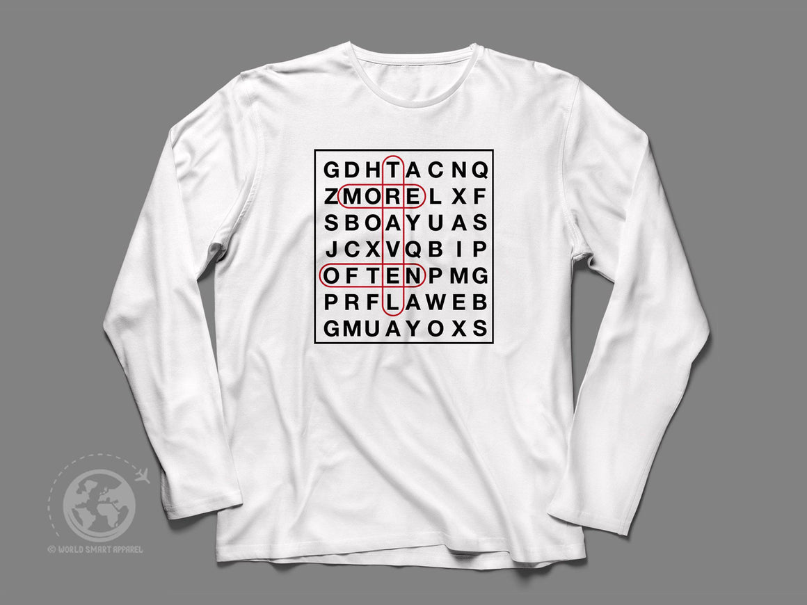 World Smart Word Puzzle Long Sleeve Travel Shirt-World Smart Apparel