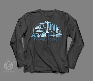World Smart Travel Addict Long Sleeve Shirt-World Smart Apparel
