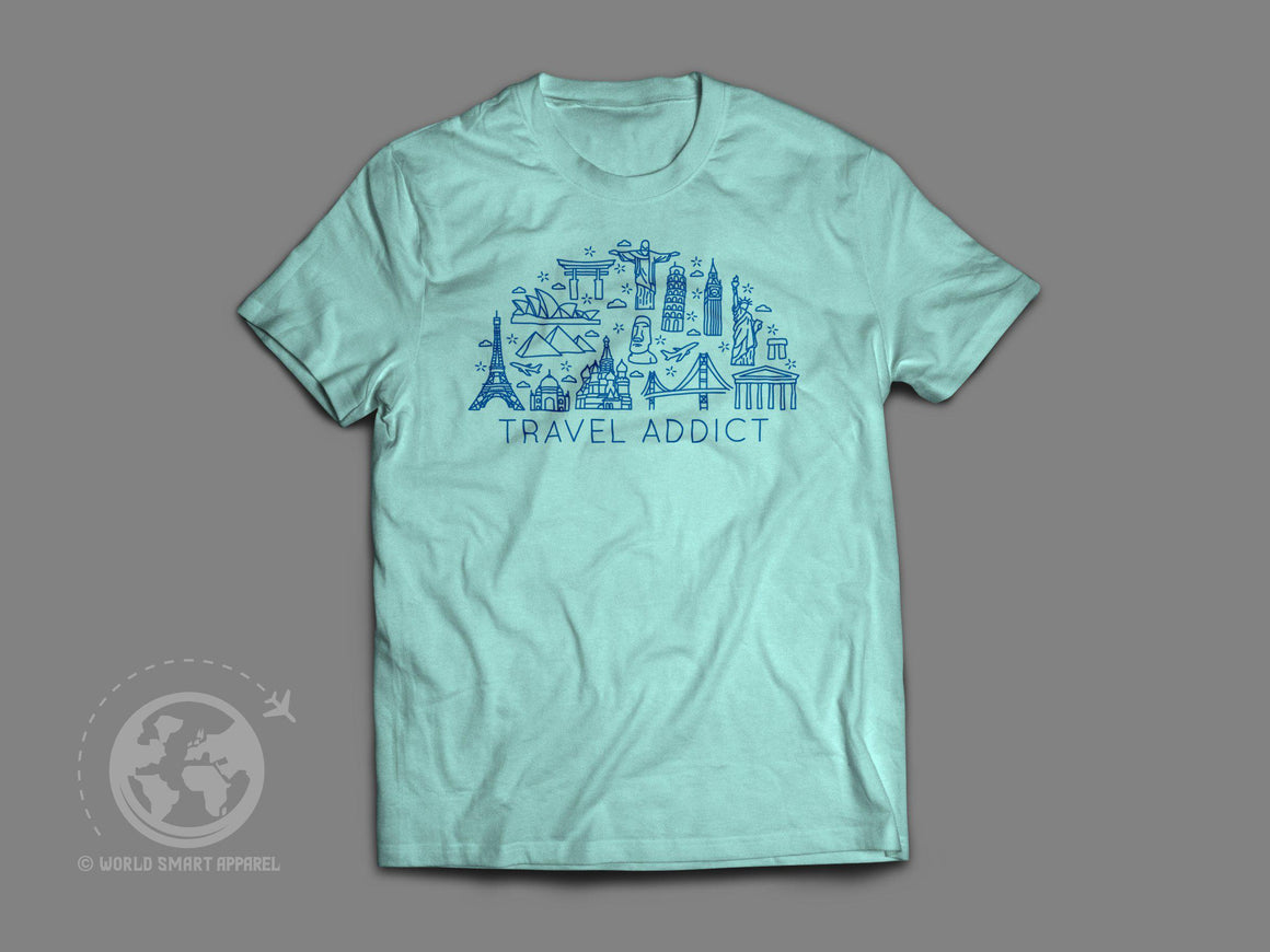 World Smart Travel Addict T-Shirt-World Smart Apparel