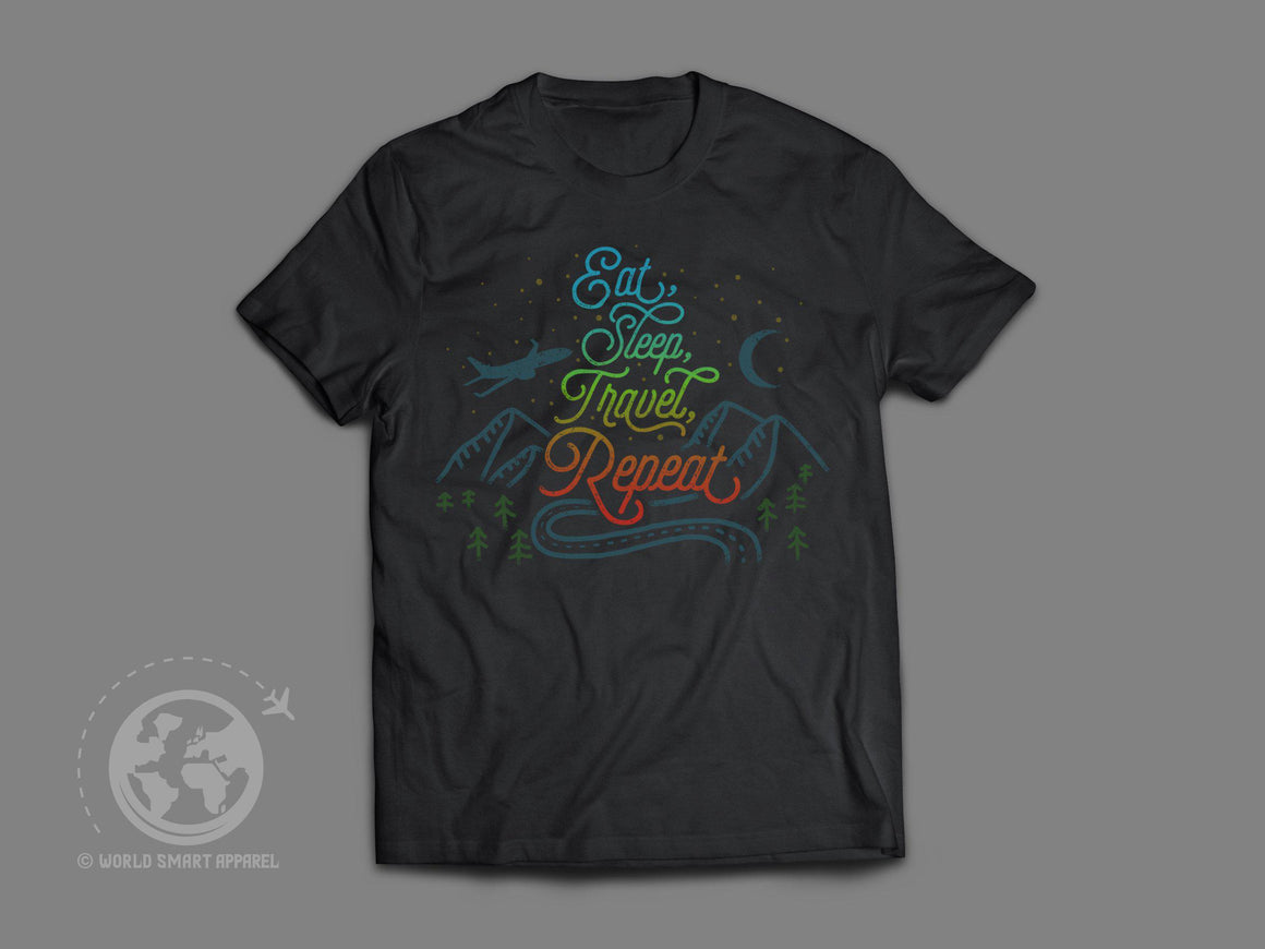 World Smart Eat, Sleep, Travel, Repeat T-Shirt-World Smart Apparel