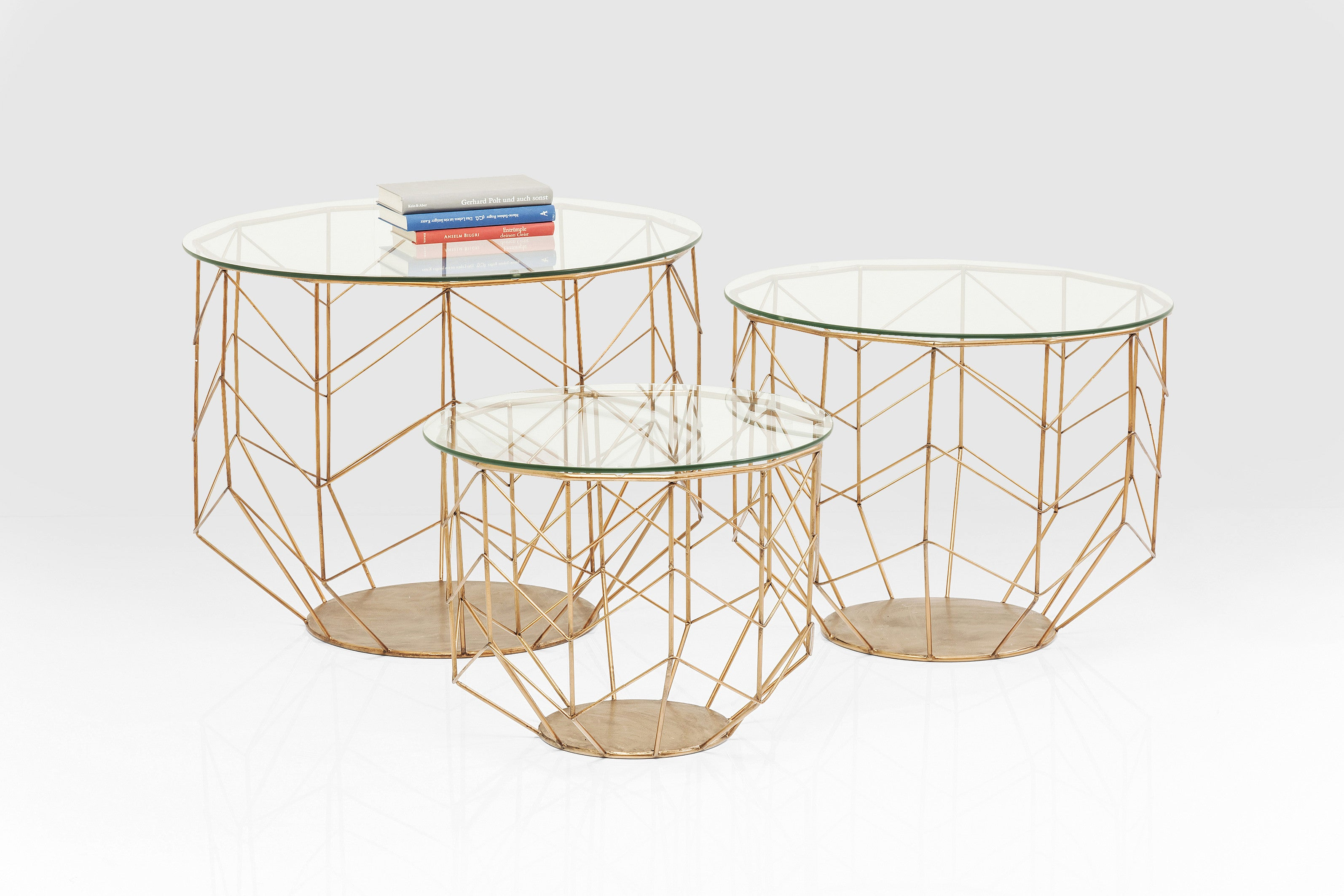 Coffee Table Wire Grid Brass (3/Set) - Asia Luxe Living