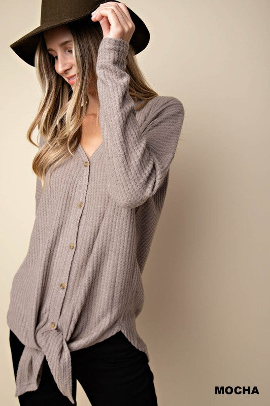 Brushed Waffle Button Down Shirt - 3 Colors!