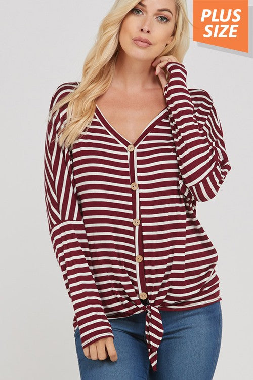 Button Down Stripe Top  1XL-3XL