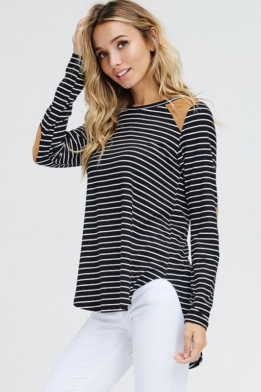Striped Knit Suede Patch Knit Top  S-XL
