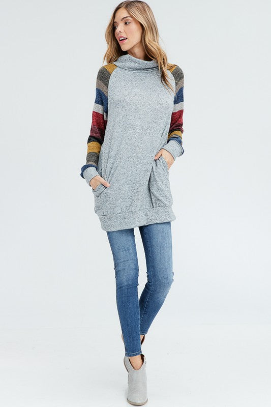 Cowl Neck Striped Sleeve Sweater  S-XL
