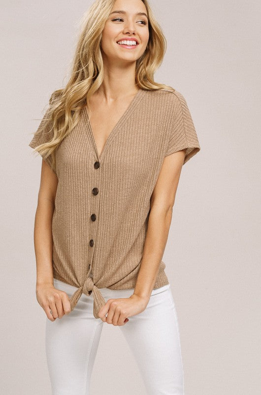 Ribbed Front Tie Top (lg mustard left)